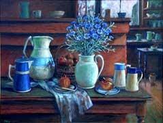 Margaret Olley  Blue Cornflowers c.1995  Oil on board  60 x 75cm