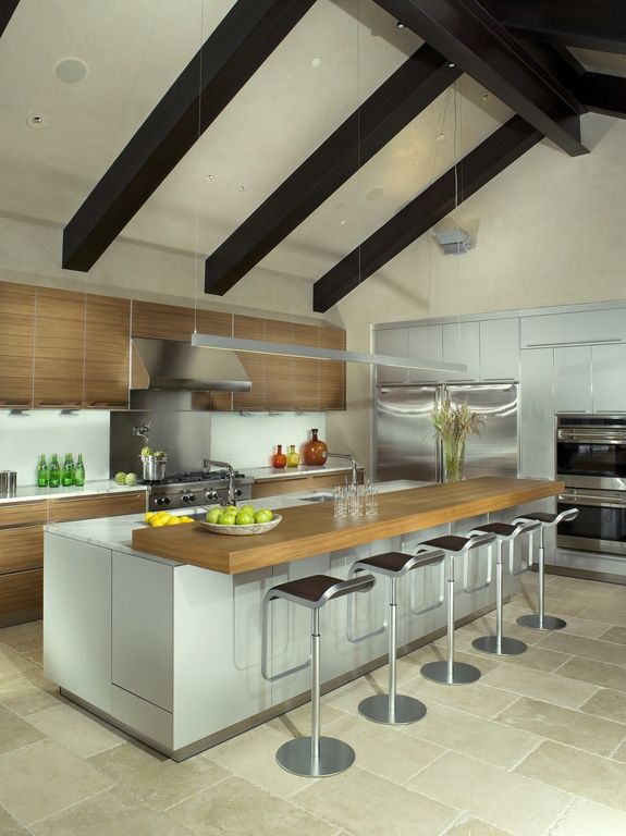 Contemporary Kitchen With Breakfast Bar Limestone Tile