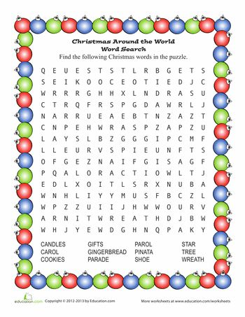 Worksheets: Santa Word Search. Christmas worksheets for first and second grade