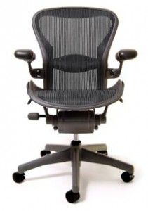 Superior Aeron Chair By Herman Miller   Basic   Graphite Frame   Carbon Wave Size B  (M
