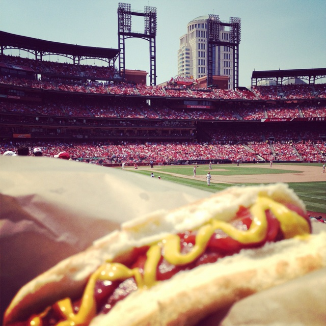 Hot dogs and a Cardinals game at Busch Stadium in St. Louis