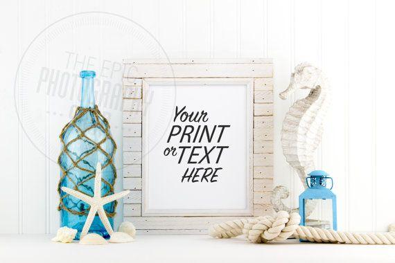 Styled Stock Photography / Beach, Shells, Ocean, Blue, Star Fish, Rope, Lantern, Nautical / Blank Frame / Empty Frame / BN004