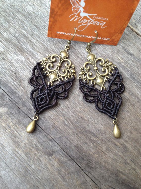 Micro macramé earrings Fleur de lis  darkest by creationsmariposa, $30.00