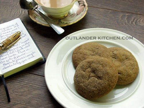 Fiona's Ginger-Nut Biscuits from DOA Soft cake-like cookies spiced with ginger and cinnamon and studded with little bursts of salt.  - From Outlander Kitchen