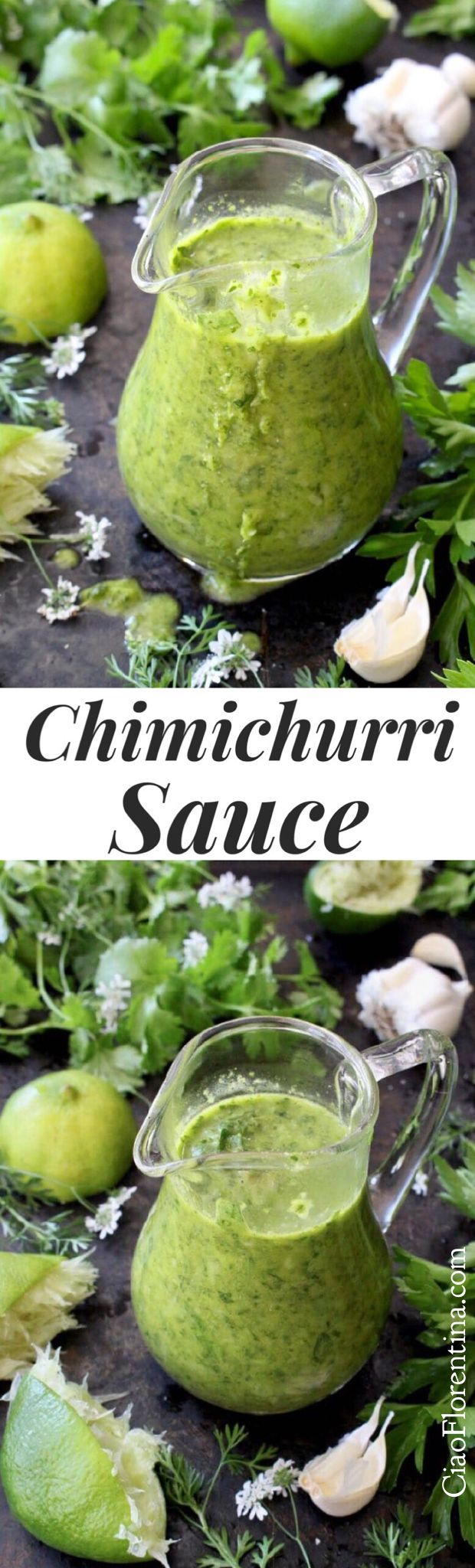 The Best Chimichurri Sauce of all times to drizzles over chicken, steak or roasted sweet potato fries. Parsley + Cilantro + Garlic ✅ | CiaoFlorentina.com @CiaoFlorentina