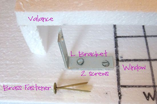 How to make an inexpensive window valance from foam, hot glue, fabric and just a few basic pieces of hardware.