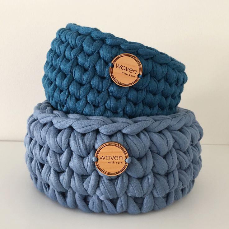 Gorgeous crochet blue baskets