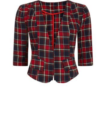 Cutie Red Check Print 1/2 Sleeve Cropped Blazer
