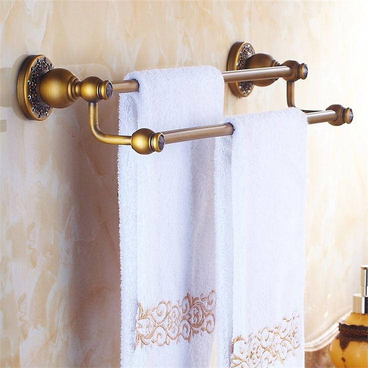 浴室タオルバー タオル掛け タオル収納 壁掛けハンガー バスアクセサリー アンティーク調 ブラス色 LWA024