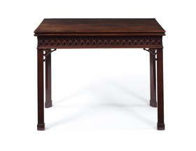 An early George III mahogany concertina action card table