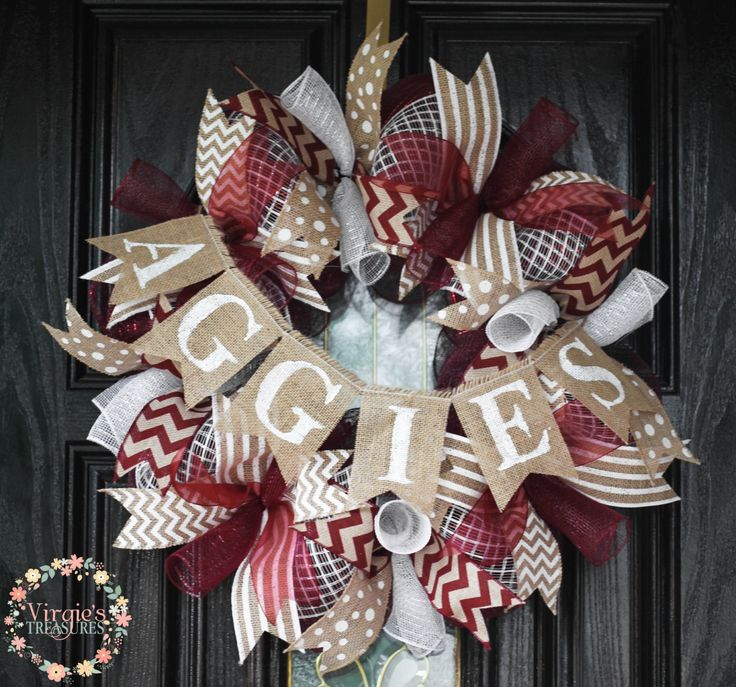 Aggies Deco Mesh Wreath-Texas A&M by VirgiesTreasures on Etsy