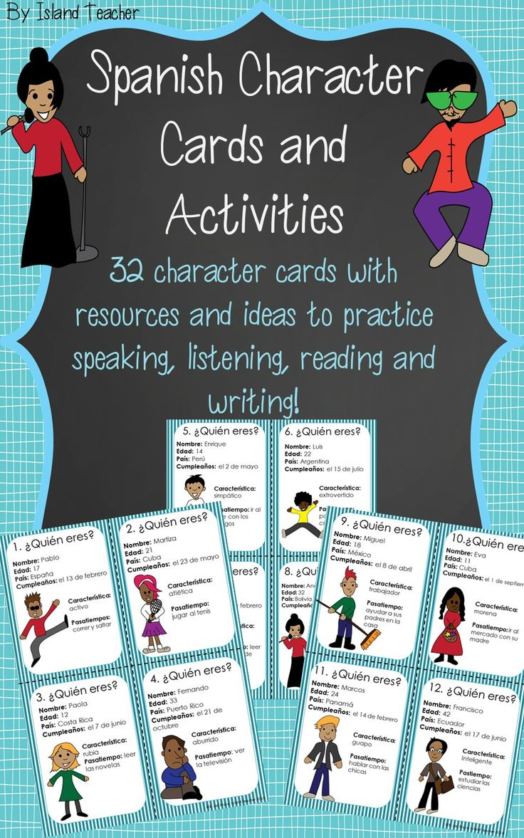 Spanish Character Cards with resources for warm-ups, class work and games.