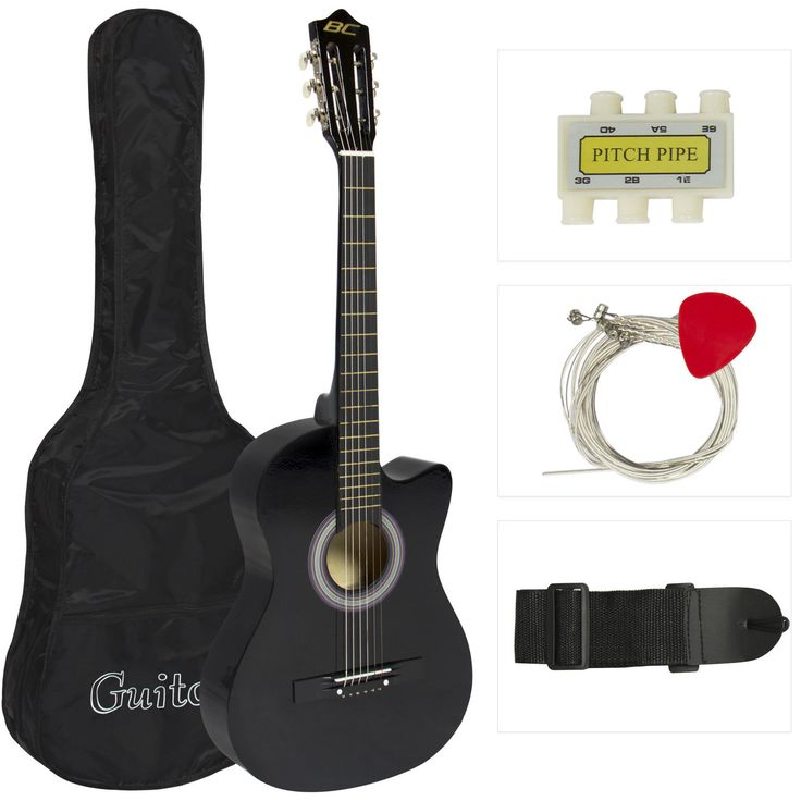 Black Acoustic Guitar Cutaway Design With Guitar Case, Strap, Tuner And Pick