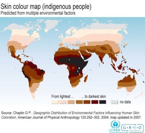 Map of the World by Natural Skin Color.