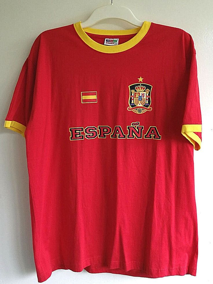 ESPANA SPAIN JERSEY T-SHIRT 100% COTTON MEN'S FOOTBALL SOCCE