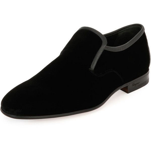 Salvatore Ferragamo Delroy Velvet & Stingray Formal Loafer ($695) ❤ liked on Polyvore featuring men's fashion, men's shoes, men's loafers, black, mens black slip on shoes, mens formal shoes, mens two tone shoes, salvatore ferragamo mens shoes and mens velvet slip on shoes