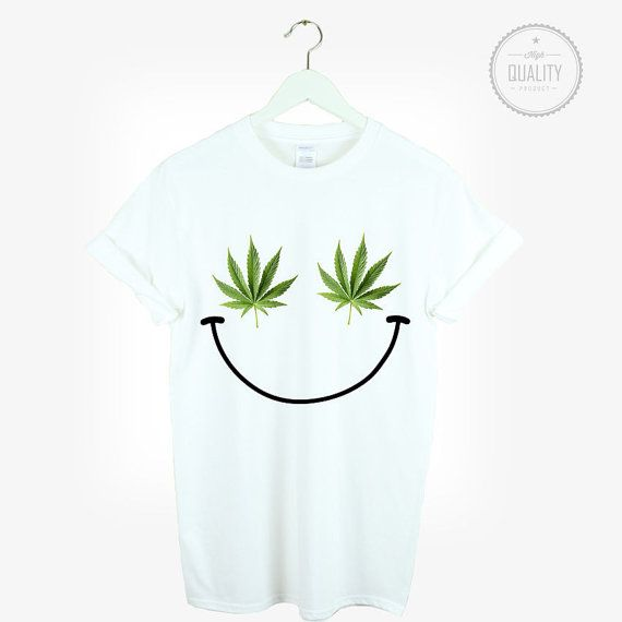 WEED SMILEY t-shirt shirt tee unisex mens by freesbeeClothing
