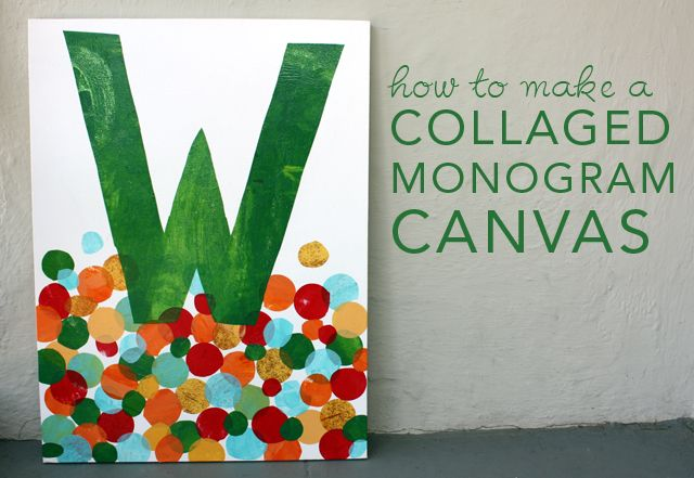 How to Make a Collage Monogram Canvas- like this for the playroom