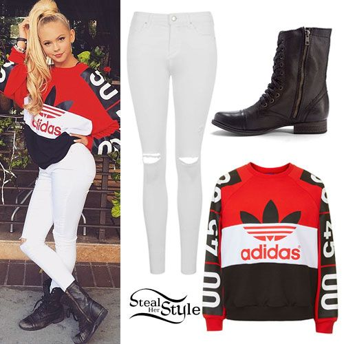 Jordyn Jones: Adidas Colorblock Sweatshirt