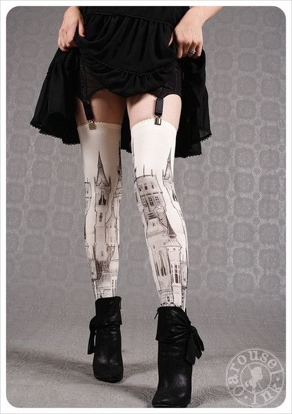 Ivory Thigh Highs ~ Victorian City by Carousel Ink