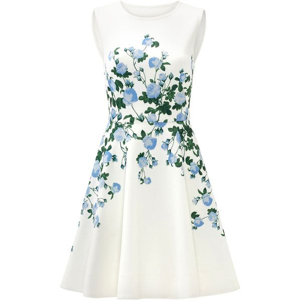 Rental ERIN erin fetherston White Floral Suzie Dress ($60) ❤ liked on Polyvore featuring dresses, flower print dress, floral pattern dress, white sleeveless dress, full skirt and white day dress
