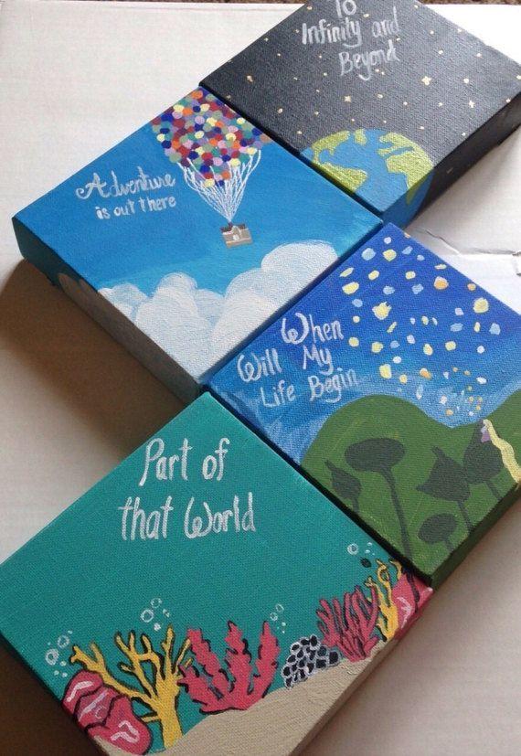 Clearance Disney Dreams Painting Set Of 4 Mini Canvas Art Diy