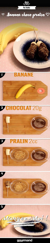 Pour le goûter ou pour une petite gourmandise, préparez et savourez ces délicieuses sucettes banane, choco et pralin. C'est un vrai délice !