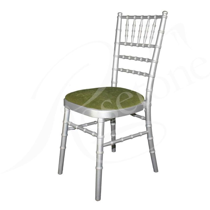 Silver Chiavari Wedding Chair with Sage Green Seat Pad