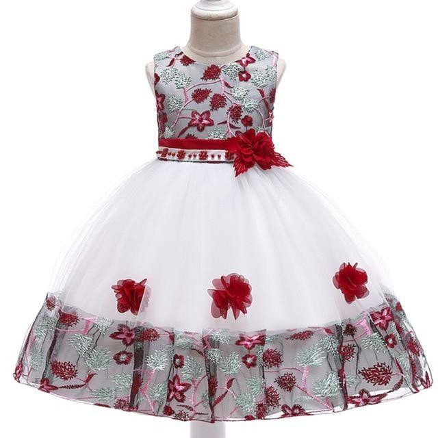 3-10 Years Kids Girl Appliques Flower Dresses Children Girl Wedding Dress
