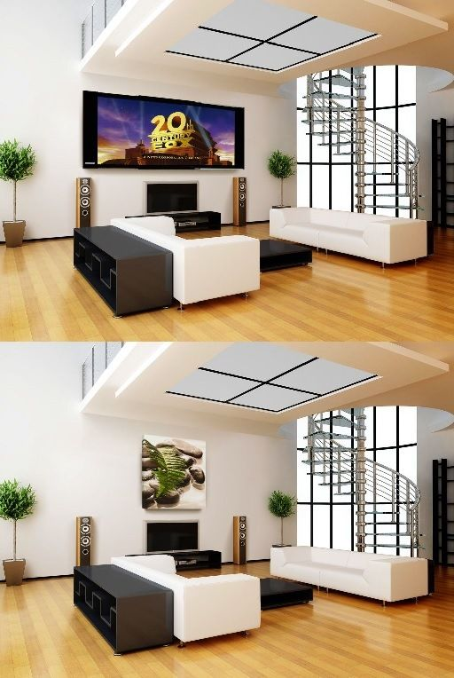Now you can enjoy a home theater directly in your living room...behind your picture frame, with this new French patented projection screens, the only screens in the World abble to be fold like a triptyc behind a artwork. No more special ceiling, no more electric cables or casing ! French touch isn't-it? (see on www.design-screen.fr)