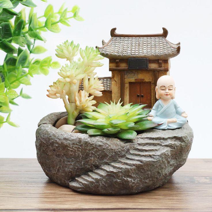 1pc Buddhism Temple Resin Flowerpot Succulent Plants Planter Monk Flower Pot Home Garden Decoration Bonsai Flower Pot FengShui by MsDIYSupplies on Etsy