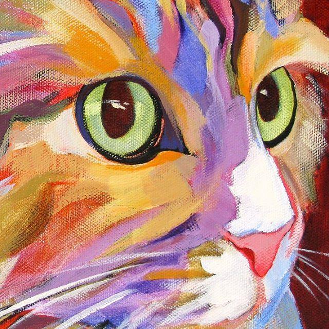 Cat painting in unusual,  bright colors