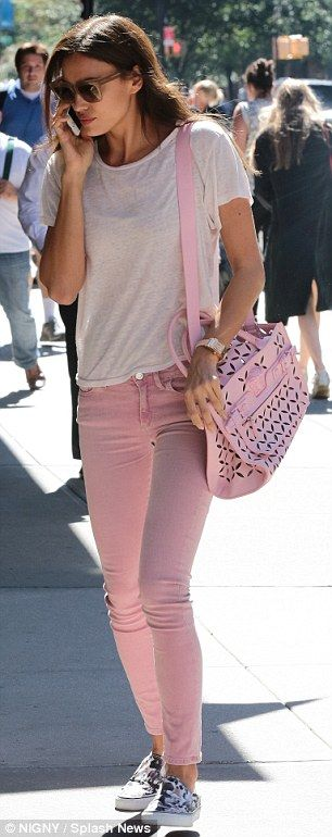 Bradley Cooper's girlfriend Irina Shayk dons tight pink jeans #dailymail