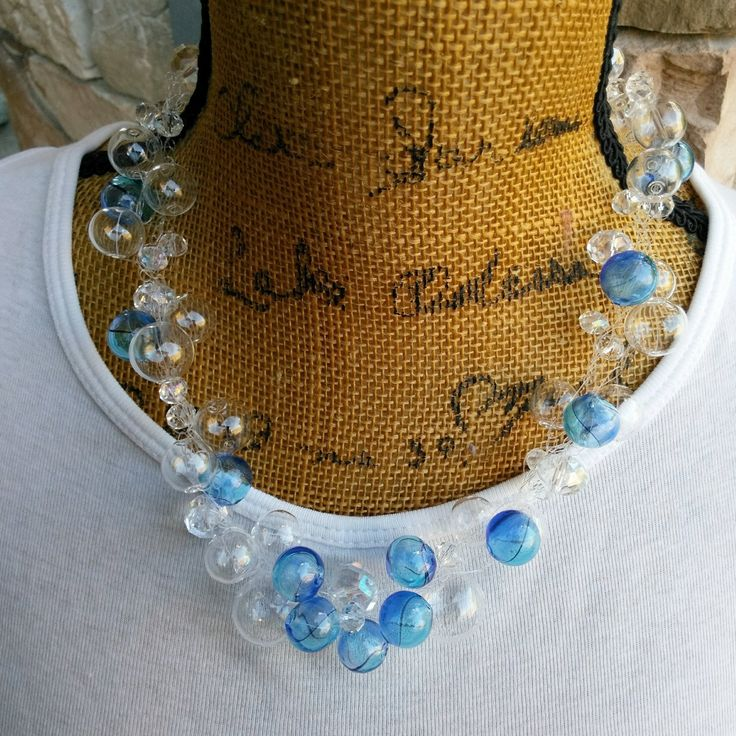 LOVE Jewelry Sale 25% Off  Use Code: LOVE25   Bridal Hand Blown Glass Crocheted Statement Necklace, Wedding Necklace, Chanel in Bubbles!