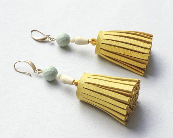 handmade yellow tassel leather earrings statement earrings