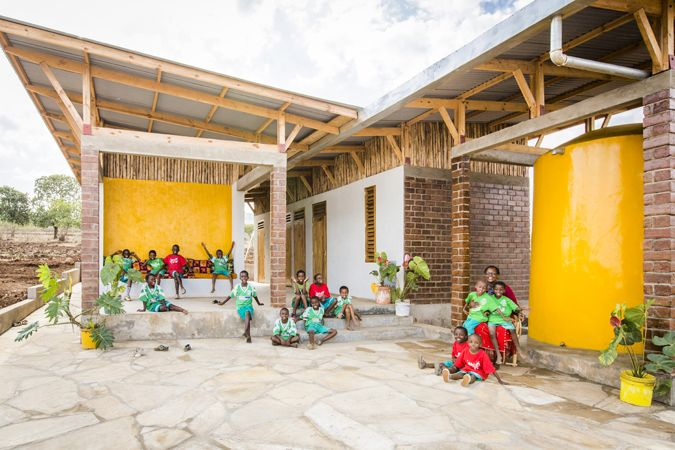 A sustainable house prototype built at ECONEF Children's Center, Tanzania, uses low-cost sustainable techniques such as rain water harvesting, solar water heating, composting toilets. By a collaboration between Asante Architecture & Design, LÖ&V, Architects Without Borders,Engineers Without Borders and Econef