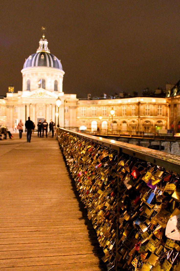 """Pont des Arts, Paris ~ Evening shot of the """"Love Bridge""""."""