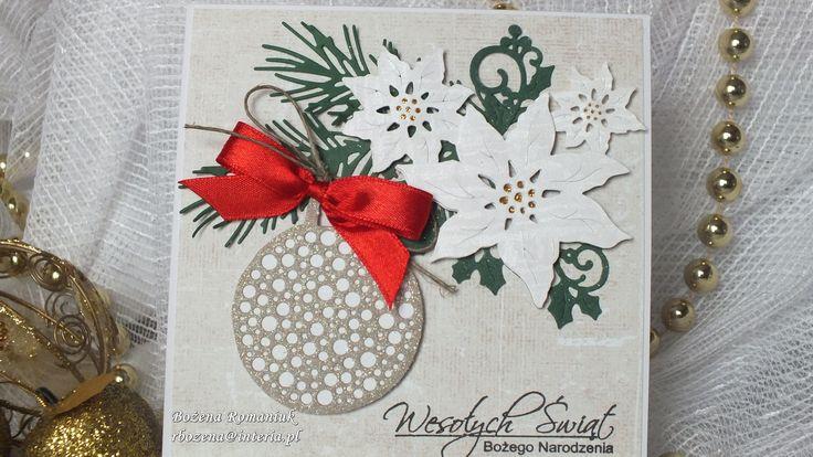 kartki świąteczne - bombka Poppy Stamps, poinsetta Cottage Cutz i świerkowa gałązka Impression Obsession