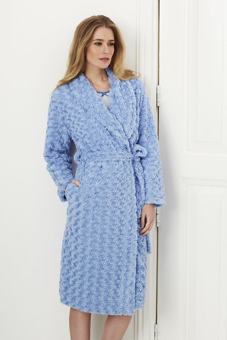 Soft & warm luxury 'Floral Fleece' light skyblue morning gown with shawl collar