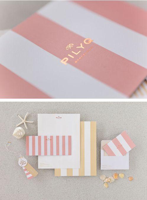 Pink white gold -Stripes