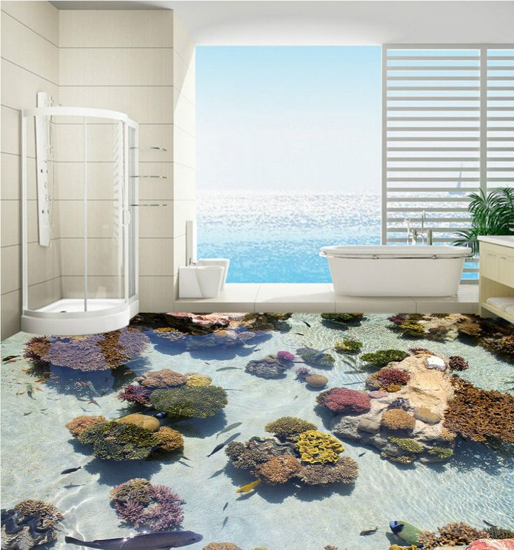 Free Shipping 3D custom Coral tropical fish marine floor painting bedroom living room lobby floor wallpaper mural #Affiliate