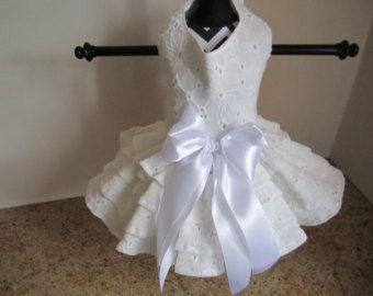 Dog Dress XS White with Light Polkadots by NinasCoutureCloset