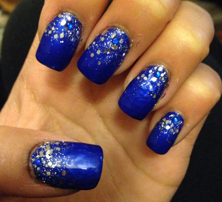 Prom Nail Ideas For Sea: Royal Blue With Silver Sparkle/glitter Prom Nails 2k14