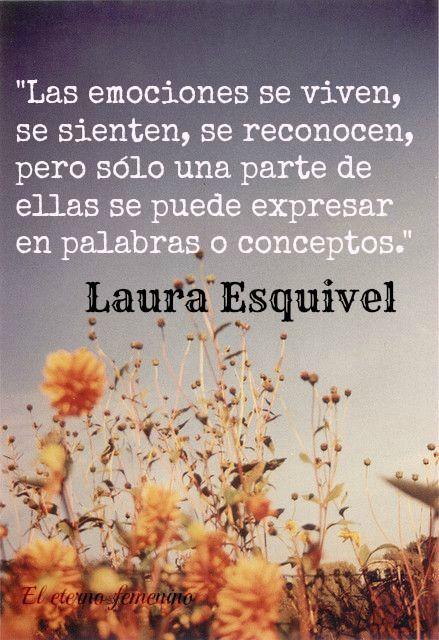 Frases de Laura Esquivel, escritora mexicana de diversas novelas algunas de ellas: Como agua para chocolate, La Malinche etc. https://www.facebook.com/blogdeleternofemeninode?fref=ts
