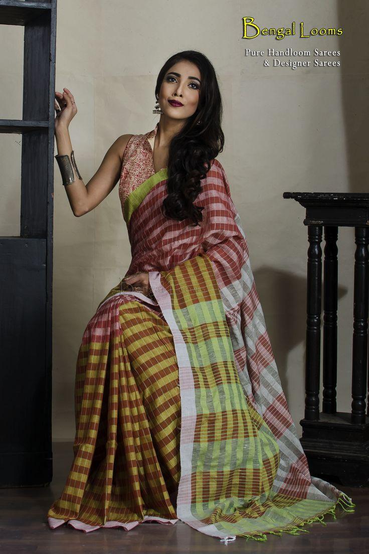 Denim Look pure linen and cotton checks Khadi Saree in Maroon and Green.