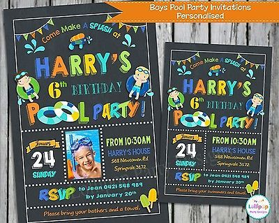POOL PARTY INVITATIONS INVITE SUMMER BOYS GIRLS PERSONALISED CHALKBOARD CARDS in…