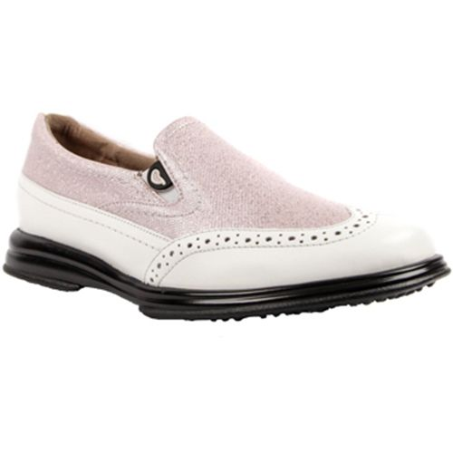 Pink Shimmer Sandbaggers Ladies Vanessa Golf Shoes | via Lori's Golf Shoppe #golf