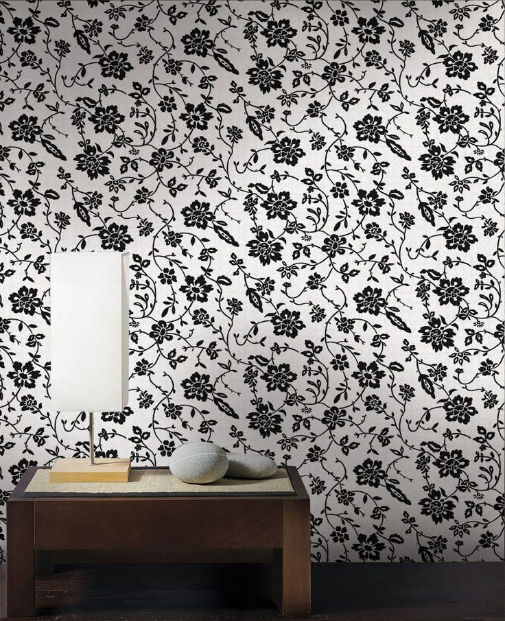 Empapelado - Floral negro - Papel de parede