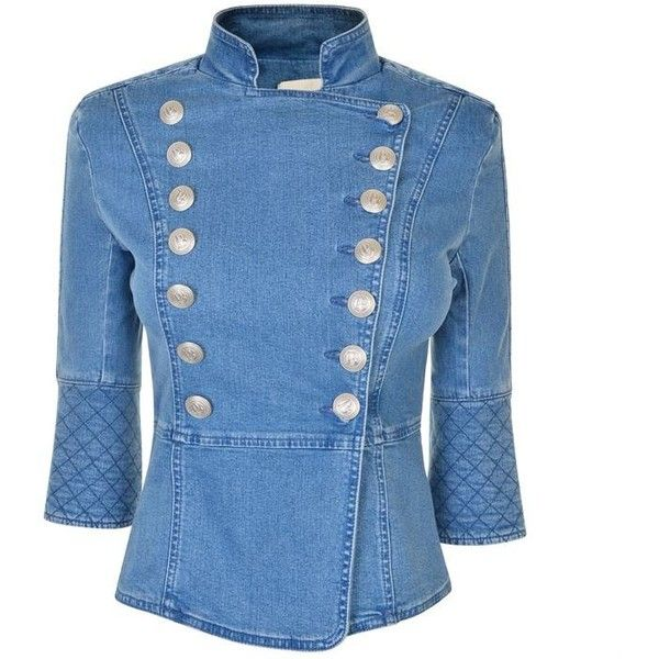 Pierre Balmain Denim Military Jacket ($625) ❤ liked on Polyvore featuring outerwear, jackets, denim blue, military style jacket, blue military jacket, army jacket, double breasted military jacket and field jacket