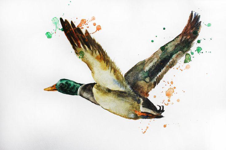 Original Watercolor Painting, Duck art, Bird Art, decor for home, gift for her, original Bird art, duck fly art, kids room decor, OOAK by MaryArtStudio on Etsy